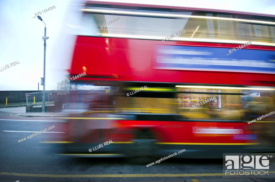 Stock Photo: red double-decker bus in London, England, UK.
