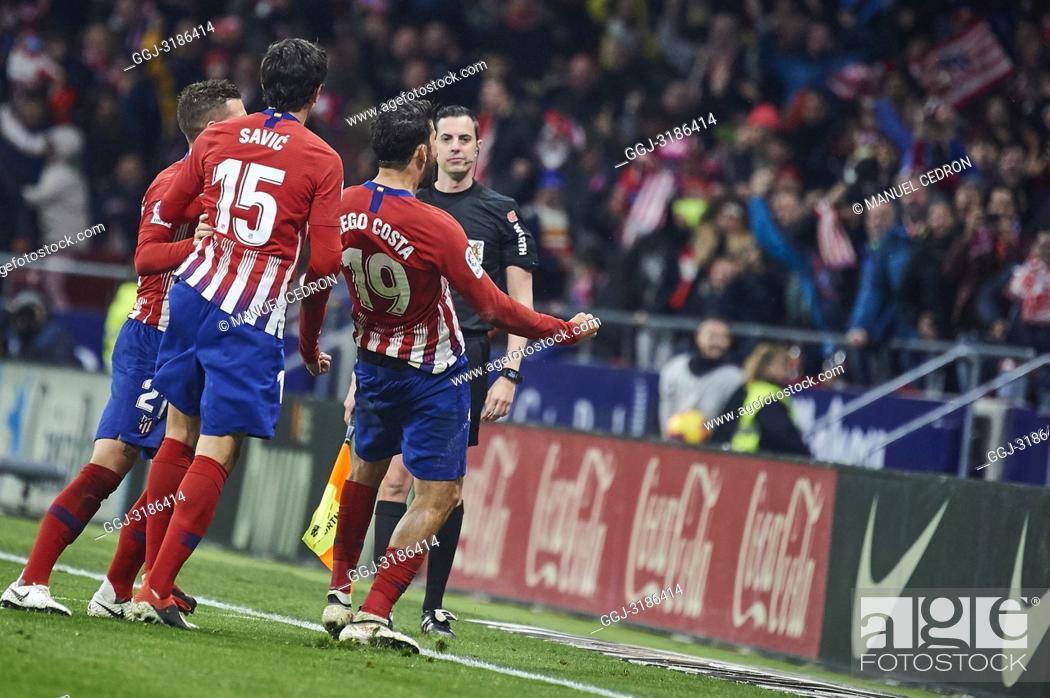 Stock Photo: Stefan Savic (defender; Atletico Madrid), Diego Costa (forward; Atletico Madrid) before La Liga match between Atletico de Madrid and F.C.