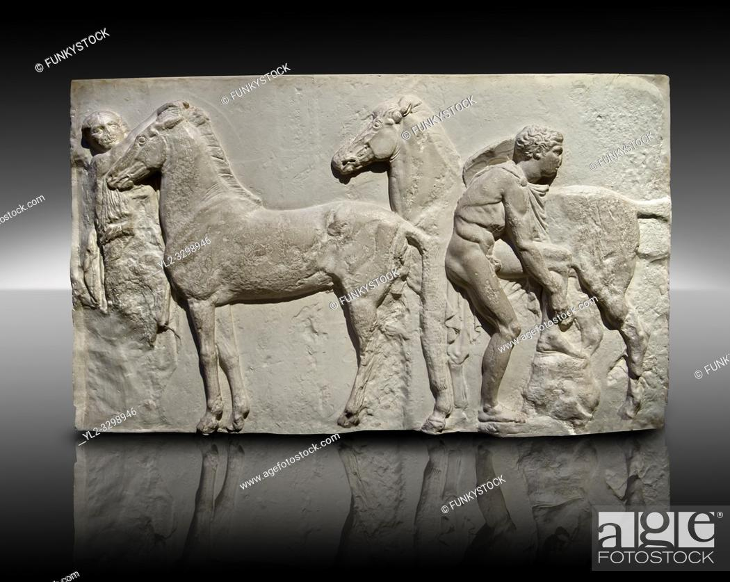 Imagen: Releif Sculptures from the frieze around the Parthenon Block XV. From the Parthenon of the Acropolis Athens. A British Museum Exhibit known as The Elgin Marbles.