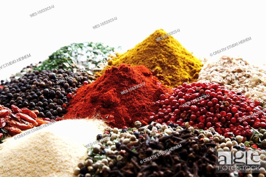 Stock Photo: A selection of spices, close-up.