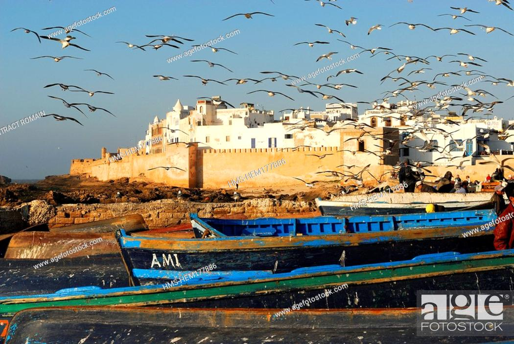 Stock Photo: Morocco, Essaouira, old town and its ramparts seen from fishing harbour.