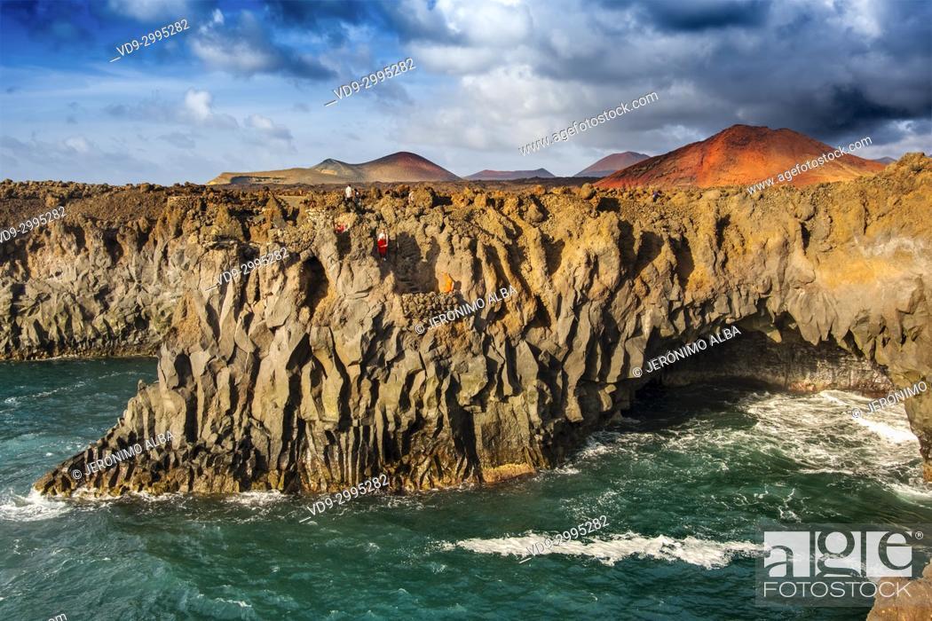 Stock Photo: Volcanic coast, Los Hervideros. Lanzarote Island. Canary Islands Spain. Europe.