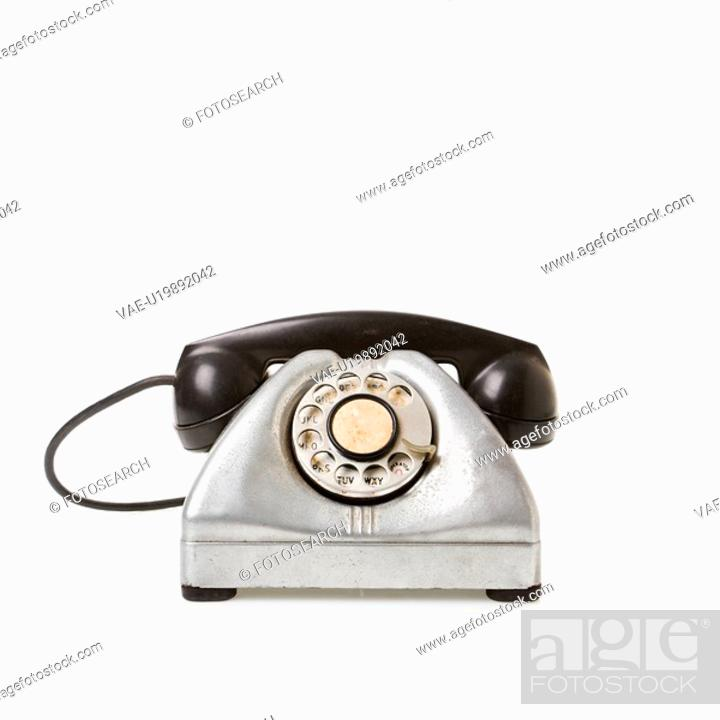 Stock Photo: Rotary telephone with black receiver.