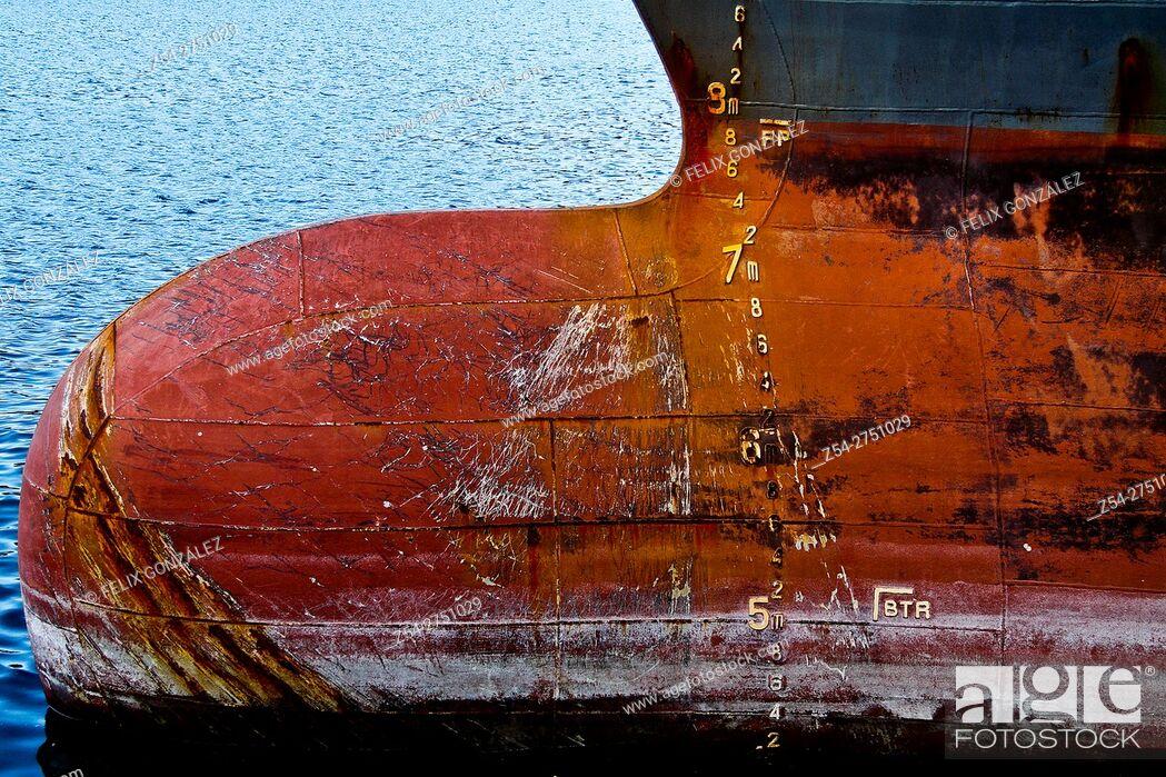 Stock Photo: Cargo Ship Prow, Gijon, Asturias, Spain, Europe.