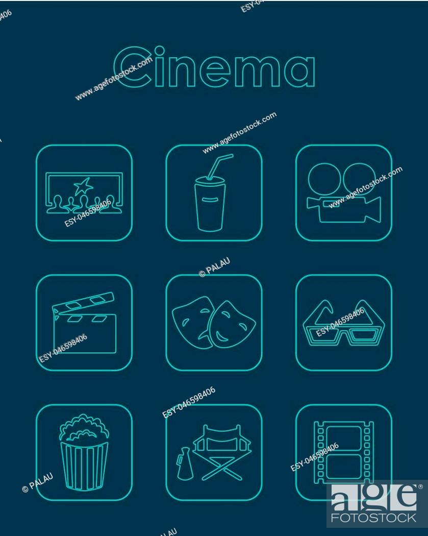 Vector: Set of cinema simple icons.