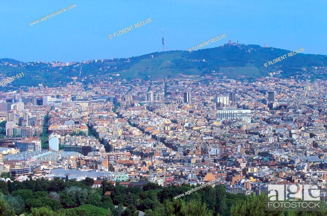 Stock Photo: Spain - Barcelona - View from Montjuïc of Barcelona and the Tibidabo.