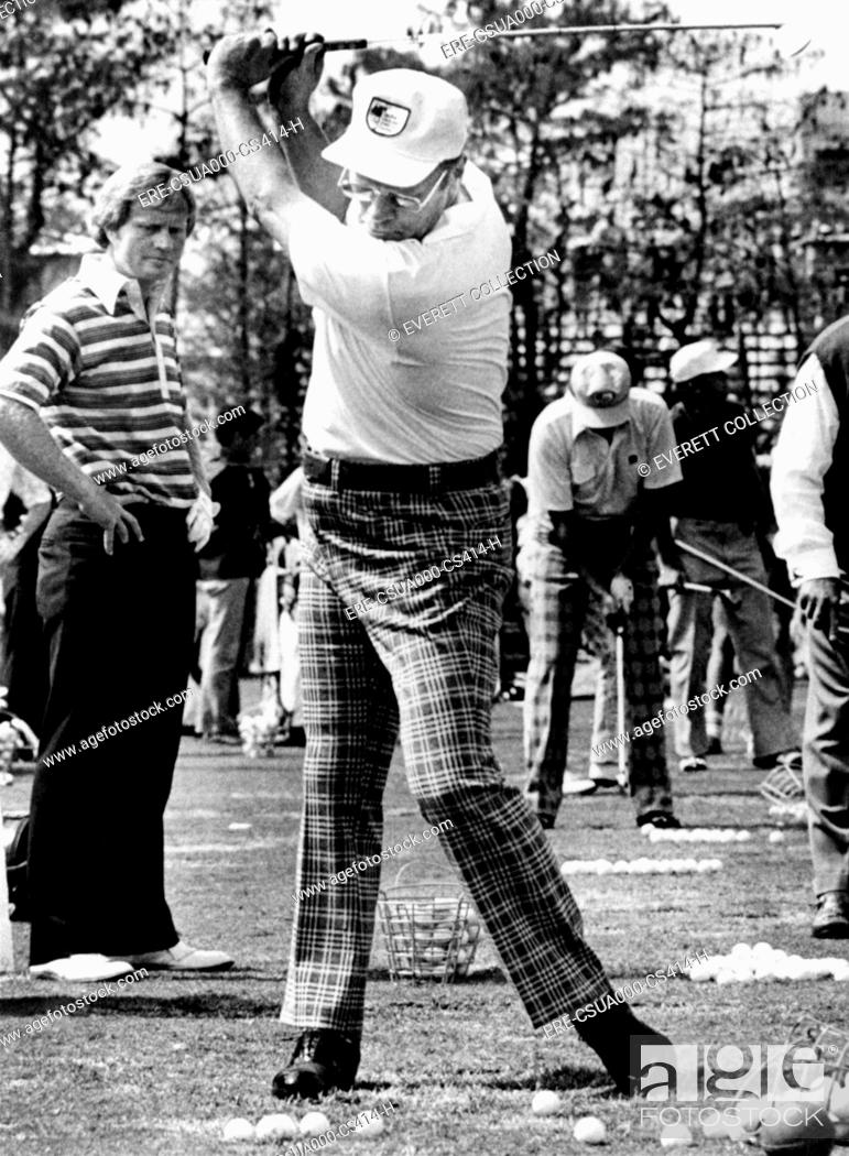 Stock Photo: Jack Nicklaus L watches President Ford's golf swing at the Inverrary Classic in Lauderhill, Florida. Feb. 2 , 1975. CSU-ALPHA-414 CSU Archives/Everett.