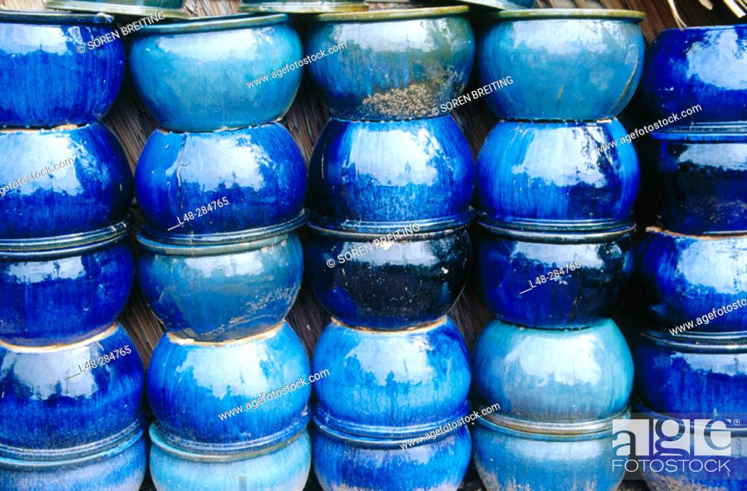 Stock Photo: Big ceramic jars from Vietnam.