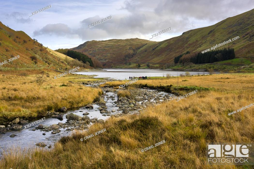 Stock Photo: Mardale Beck and Haweswater Reservoir at Mardale Head in the Lake District National Park, Cumbria, England.
