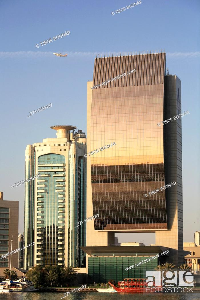 Stock Photo: National Bank, Deira skyline, Dubai, United Arab Emirates.
