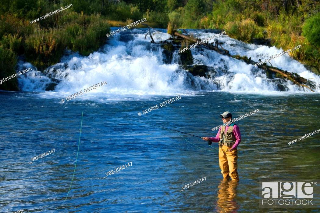 Stock Photo: Flyfishing at Fall River Falls, La Pine State Park, Oregon.