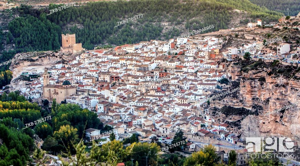 Stock Photo: Panoramic view of the city, on top of limestone mountain is situated Castle of the 12TH century Almohad origin, take in Alcala of the Jucar, Albacete province.