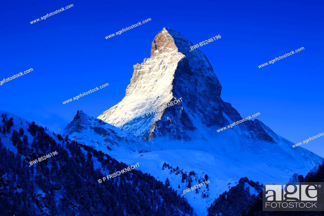 Stock Photo: Matterhorn - 4478 m in morning light, Switzerland, Valais, Zermatt.