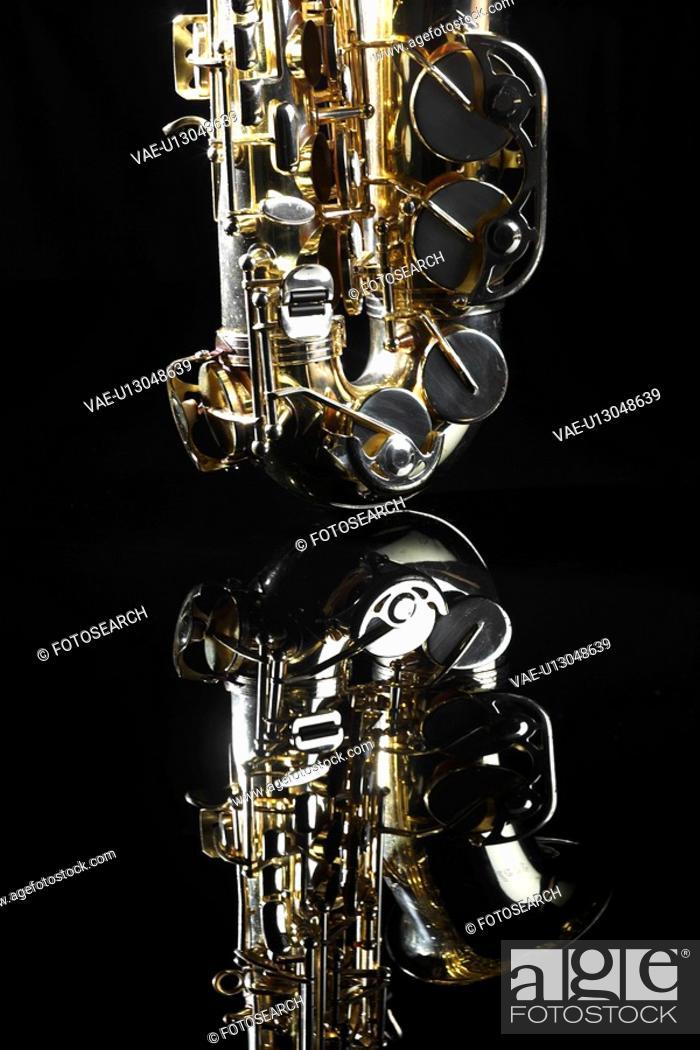 Stock Photo: Single saxophone.
