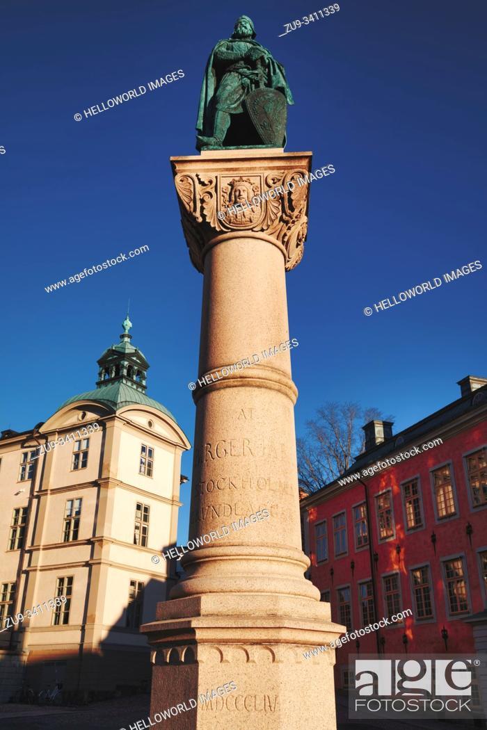 Stock Photo: Statue of Birger jarl, Birger Jarls Torg, Riddarholmen, Stockholm, Sweden. Statue by Swedish sculptor Bengt Erland Fogelberg in 1854.