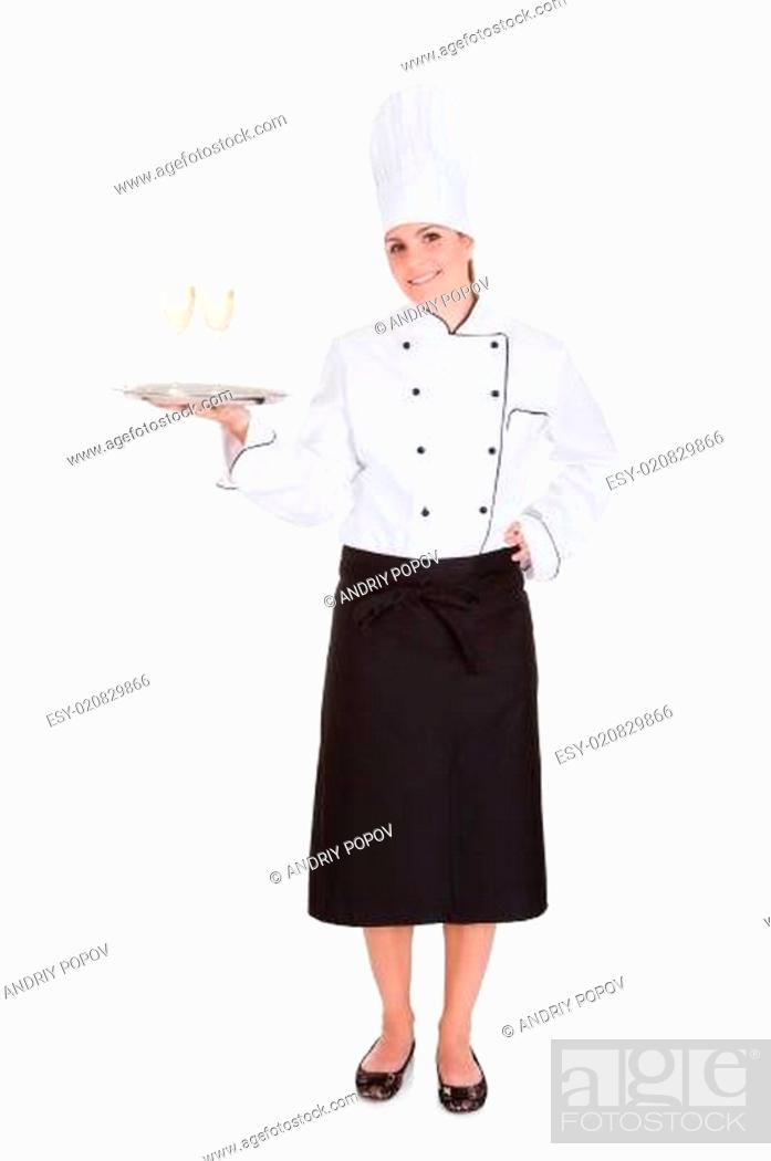 Stock Photo: Female Chef Holding Champagne.