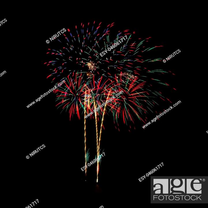 Stock Photo: Firework celebration at the beach, Hua Hin, Thailand.