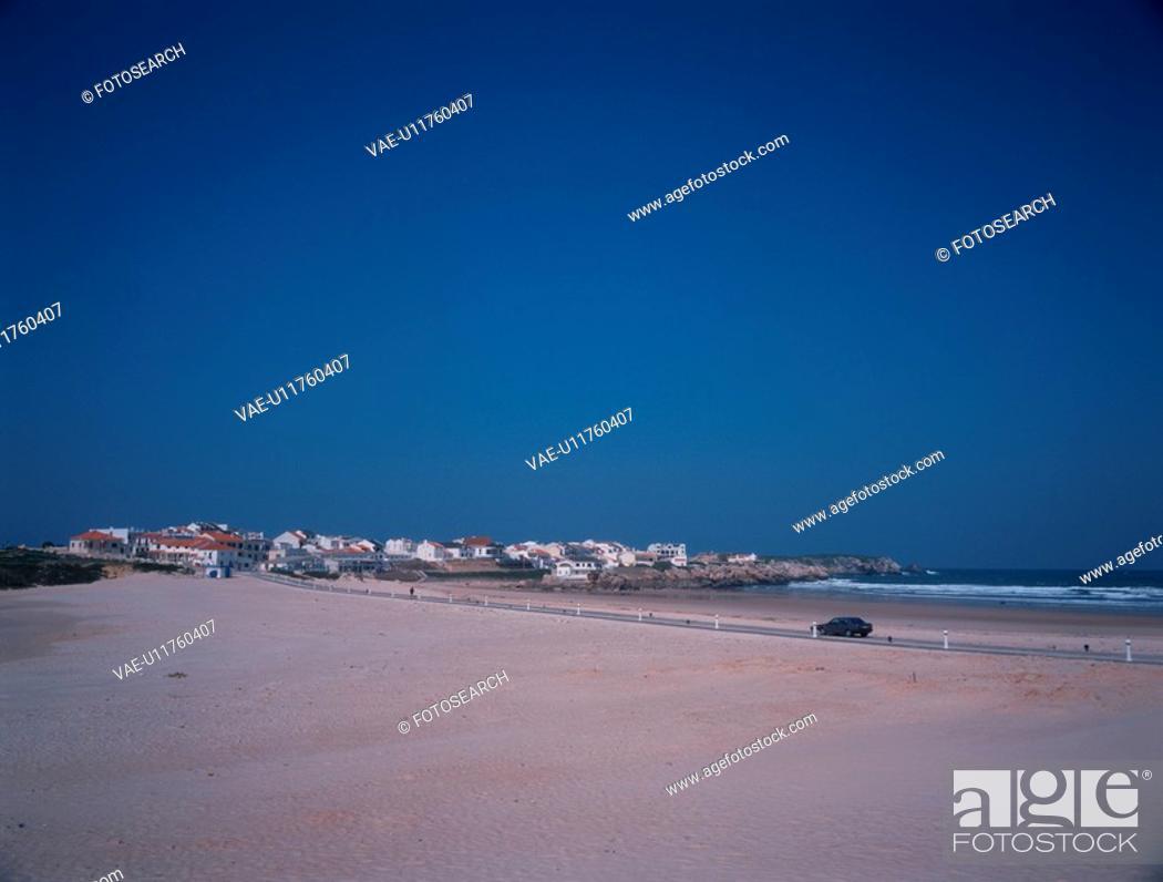 Stock Photo: Road Going Through Sandy Beach.