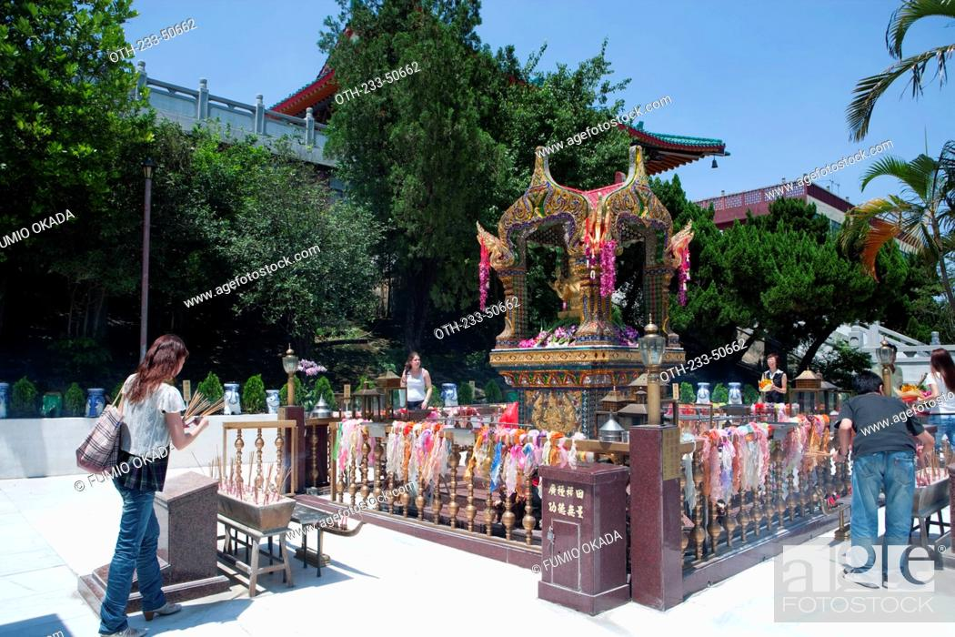 Stock Photo: Thai shrine at Chuk Lam Shim Yuen Bamboo Grove Monastery, Tsuen Wan, Hong Kong.