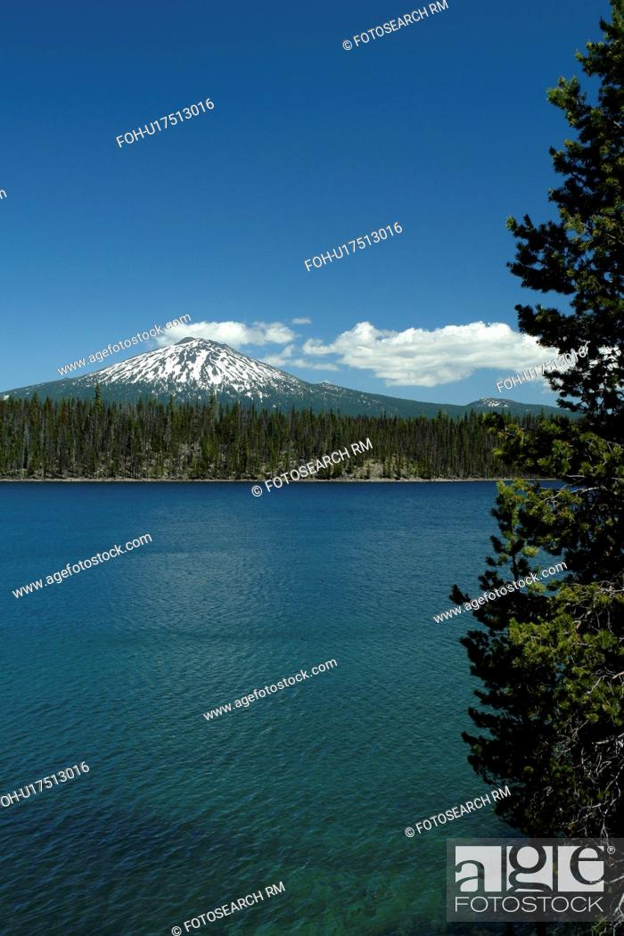 Stock Photo: Deschutes National Forest, OR, Oregon, Mount Bachelor, Cascade Lakes National Scenic Byway, Cascade Range, Lava Lakes.