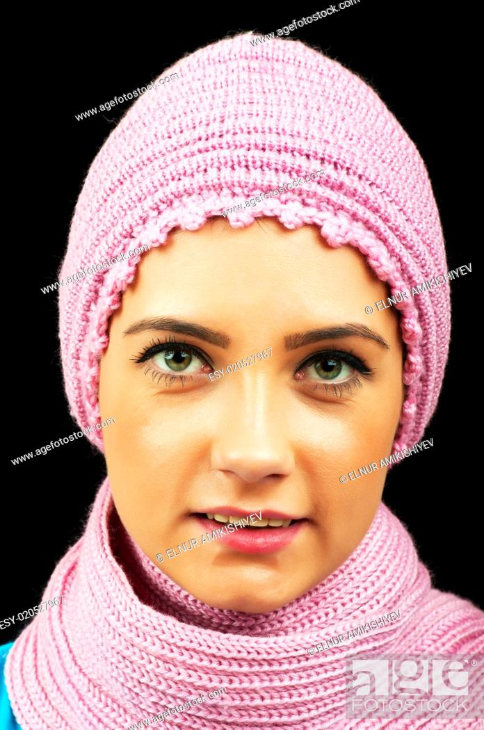 Stock Photo: Nice looking woman in the warm clothing.