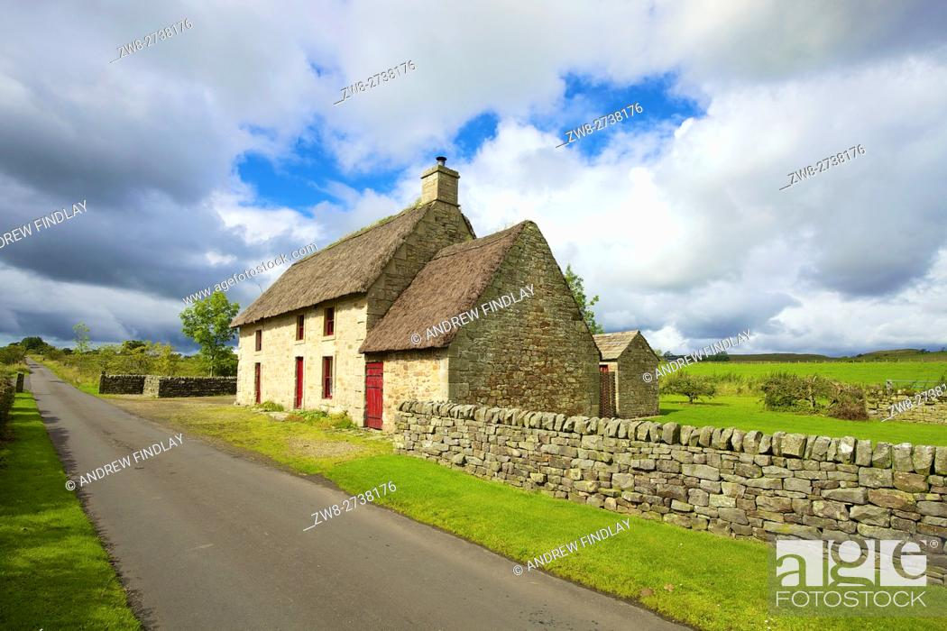 Stock Photo: Causeway House. 18th century stone farmhouse, heather thatched known as black thack. Owned by The Landmark Trust and is available to rent as a holiday let.