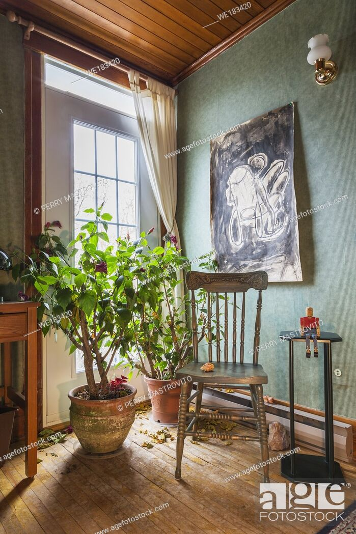 Stock Photo: Antique wooden chair and green plants in terracotta planters in guest bedroom inside an old 1927 American Four Squares house, Quebec, Canada.