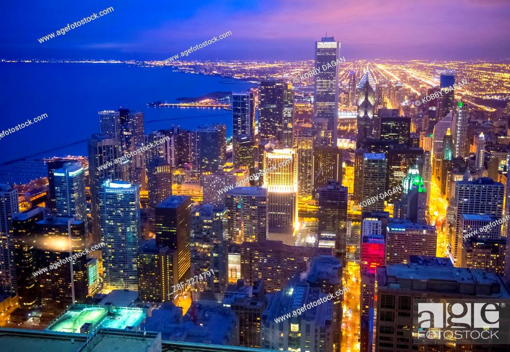 Stock Photo: The Chicago skyline seen from hancock tower.