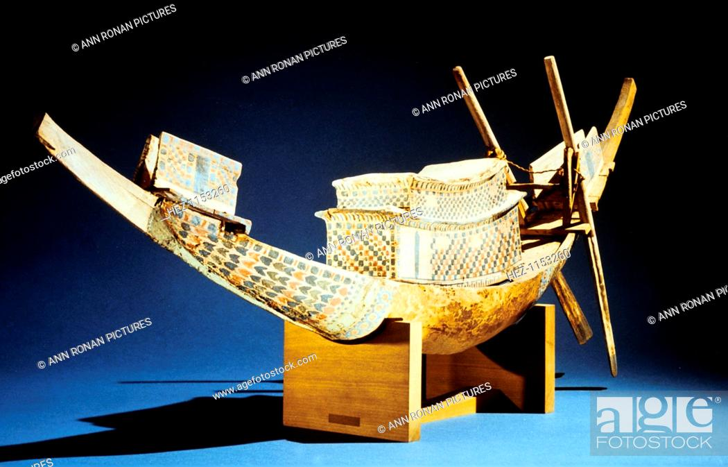Stock Photo: Model of a boat, Ancient Egyptian, 18th Dynasty, c1325 BC. From the Treasure of Tutankhamun (ruled 1333-1323 BC), discovered in the pharaoh's tomb and today.