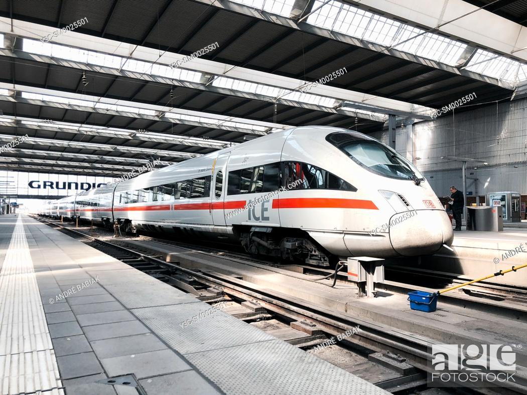 Stock Photo: ICE Deutsche Bahn train, Munich Central Train Station, Bavaria, Germany.