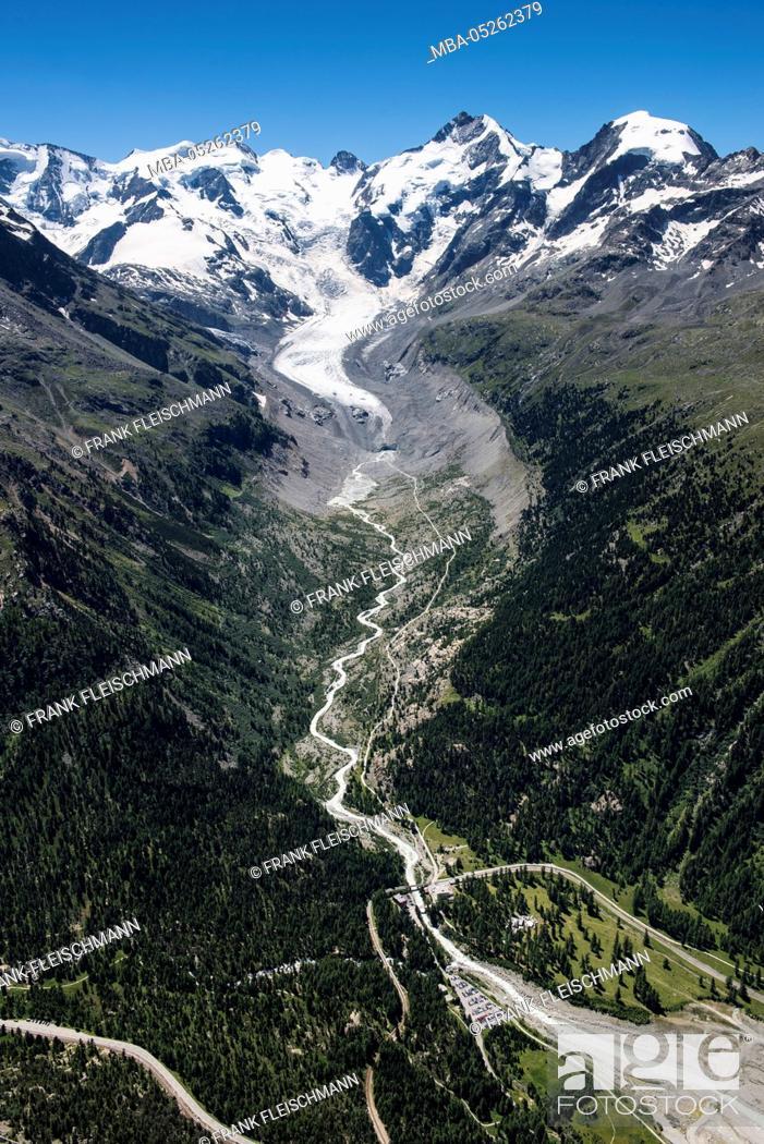 Stock Photo: Morteratsch Glacier, Piz Bernina, Biancograt, Piz Palü, Piz Morteratsch, Bellavista, glacier, glacier tongue, Grisons, the Engadine, aerial picture, Switzerland.