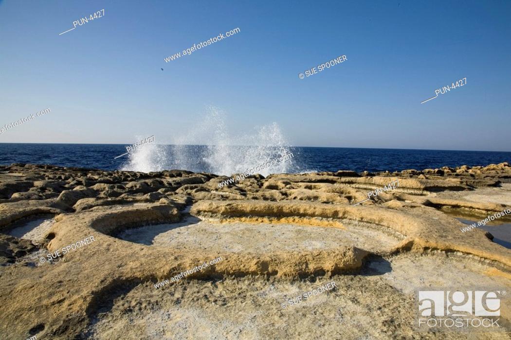 Stock Photo: Salt pans in Gozo on Malta in June.