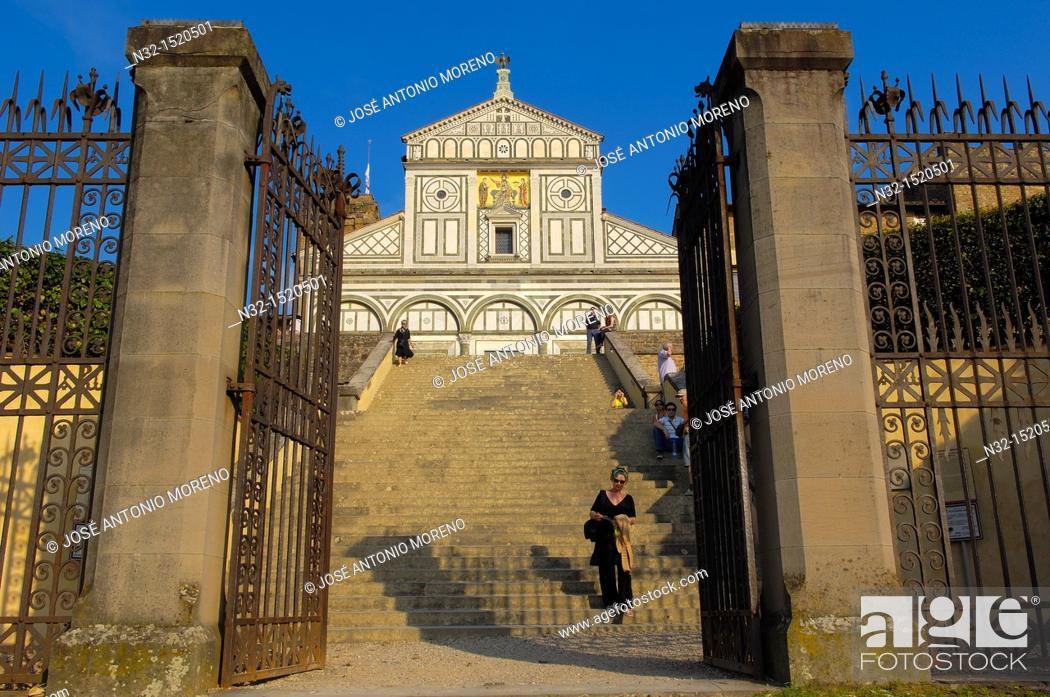 Stock Photo: San Miniato al Monte, Florence, San Miniato al Monte church, Tuscany  Italy  Europe.