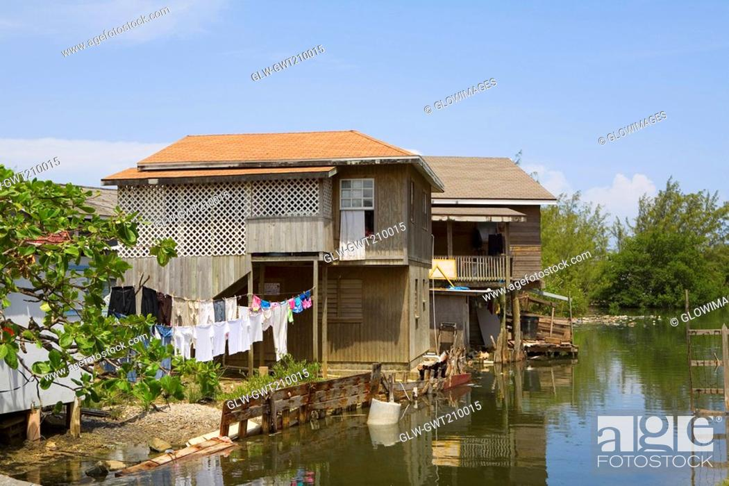 Stock Photo: Houses at the riverside, Honduras.