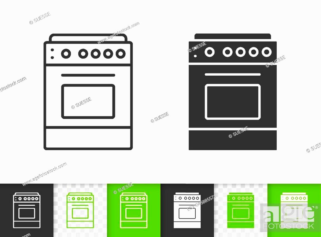 Stock Vector: Stove black linear and silhouette icons. Thin line sign of oven. Cooker outline pictogram isolated on white, color, transparent background.