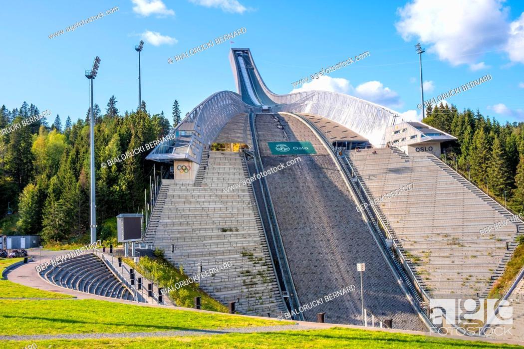 Stock Photo: Oslo, Ostlandet / Norway - 2019/09/02: Panoramic view of Holmenkollen ski jumping hill - Holmenkollbakken - an Olympic size ski jump facility after 2010.