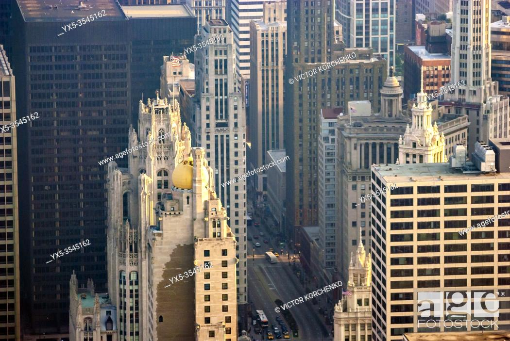 Stock Photo: Tribune Tower, a Gothic Revival building in Chicago, IL.