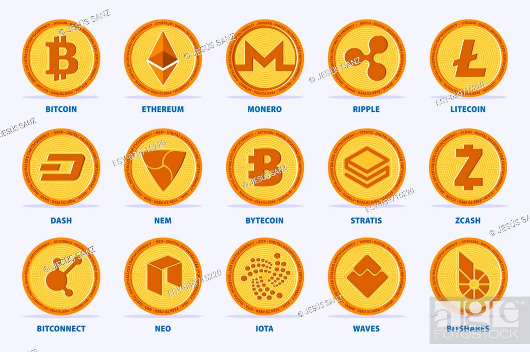 Stock Vector: Set of the main Cryptocurrency Coin. Vector illustration with 15 criptocurrency in flat style.