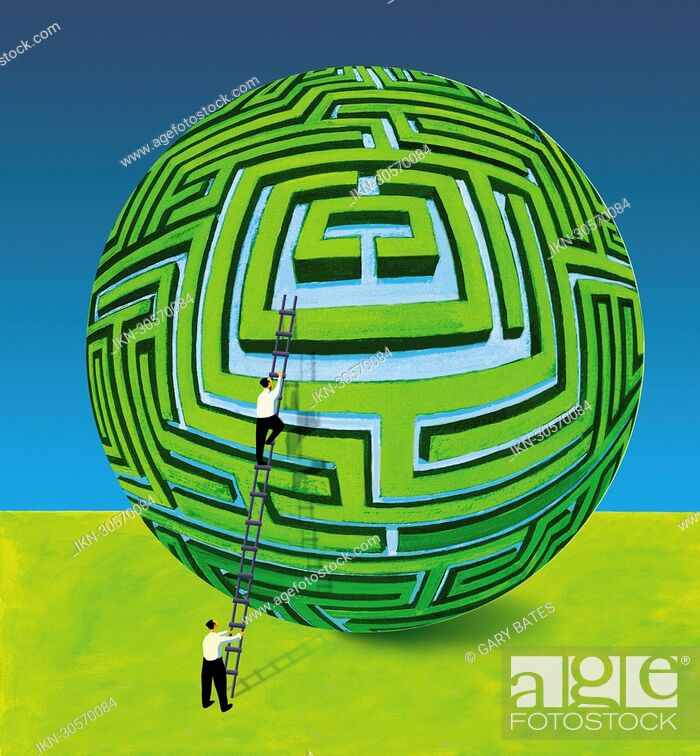 Imagen: Businessman supporting colleague on ladder at spherical maze.