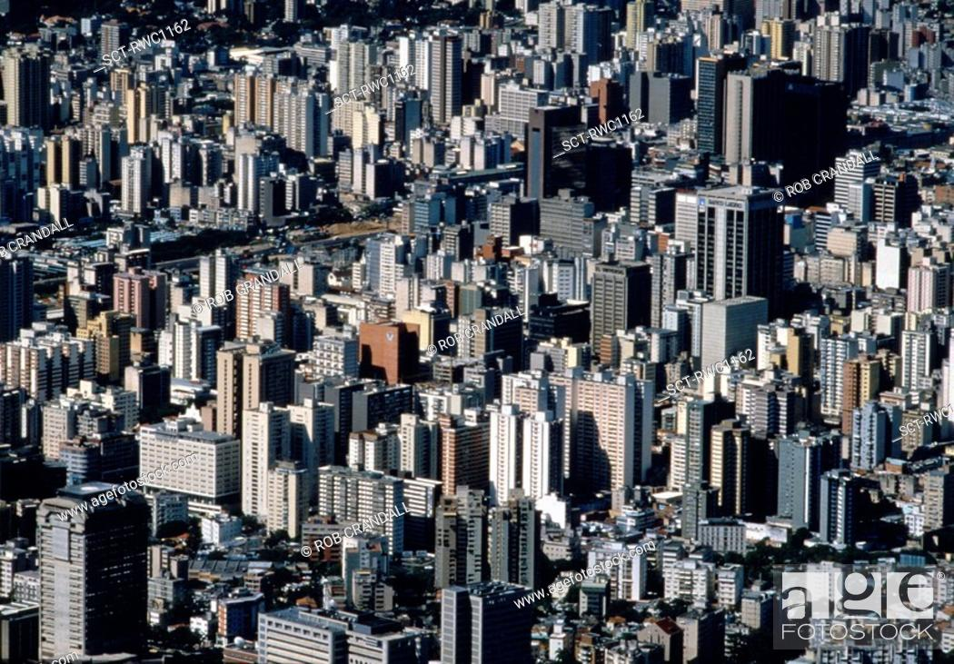 Stock Photo: Aerial view of dozens of high-rises in downtown Caracas, Venezuela.
