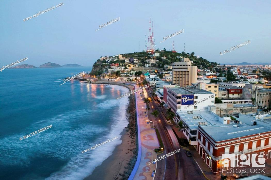 Stock Photo Mexico Sinaloa State Mazatlan Playa Olas Altas With Cerro De