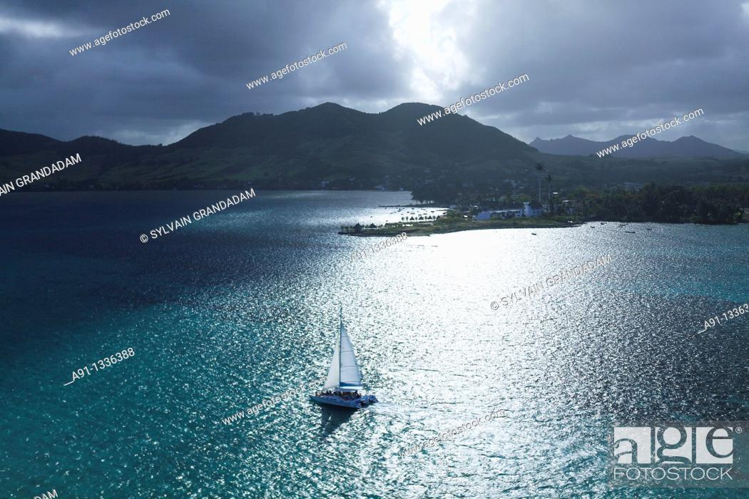 Stock Photo: Mauritius, aerial view from an helicopter.