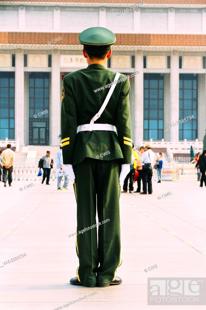 Stock Photo: Beijing, China - A guard soldien at Tiananmen Square in the daytime.