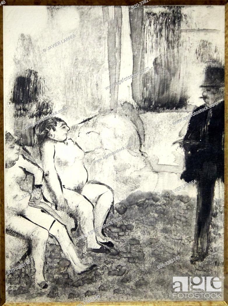 """Stock Photo: """"Le Client"""", 1879, Edgar Degas, Picasso Museum, Paris, France, Europe."""
