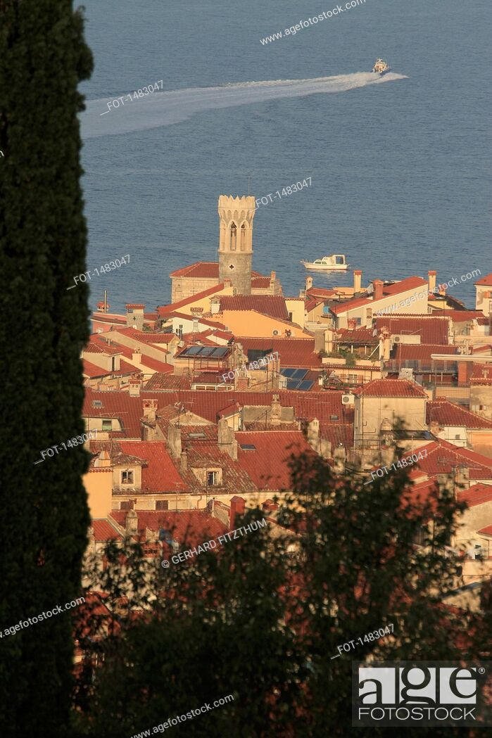 Stock Photo: High angle view of town and lake.