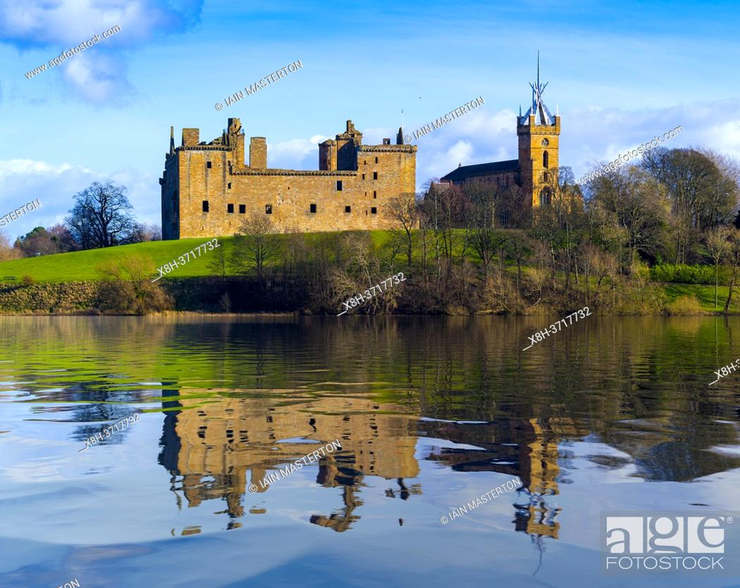 Stock Photo: Reflection of Linlithgow Palace in lake, Linlithgow, Scotland, UK.