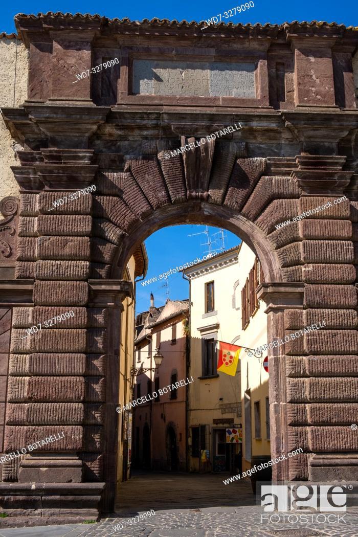 Stock Photo: City entrance of Bolsena, near Bolsena lake, Lazio, Italy.