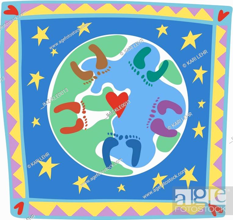 Stock Photo: Footprints of different colors on a globe.
