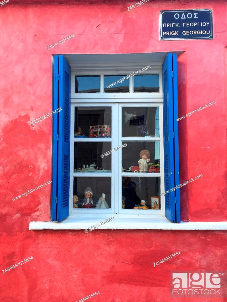 Stock Photo: Window facade of the old shop building at old town, Chania, Crete, Greek Islands, Greece, Europe.
