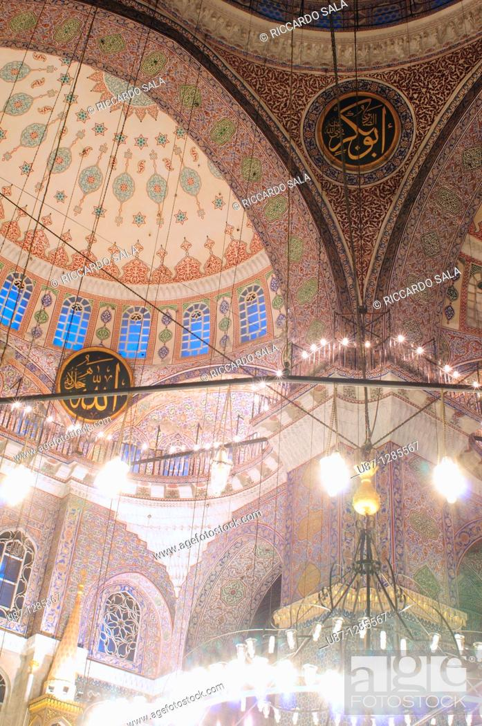 Stock Photo: Turkey, Istanbul, The New Mosque or Mosque of the Valide Sultan, Interior.